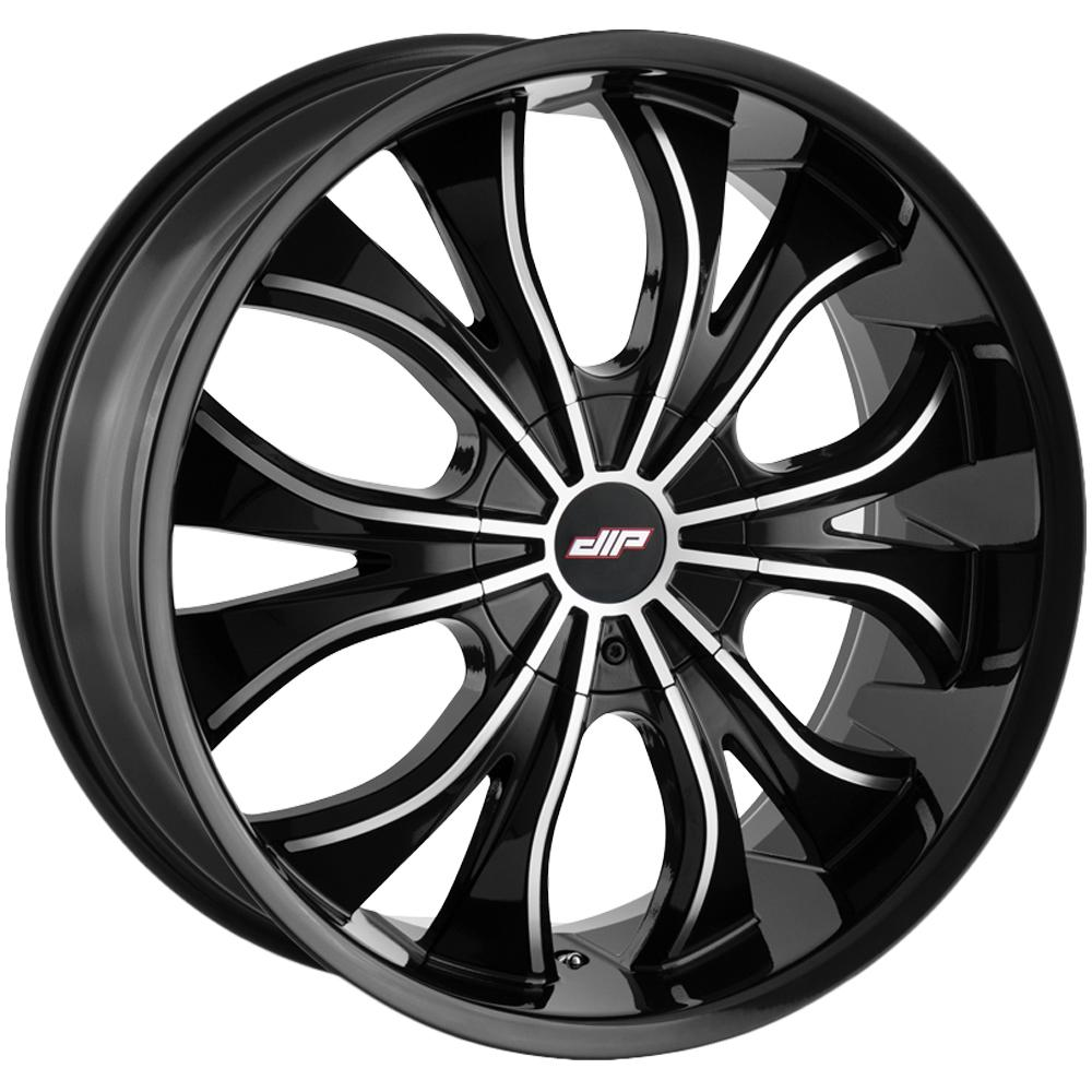 "4-Dip D42 Hustler 24x9.5 5x5""/5x5.5"" +18mm Black/Machined Wheels Rims 24"" Inch"