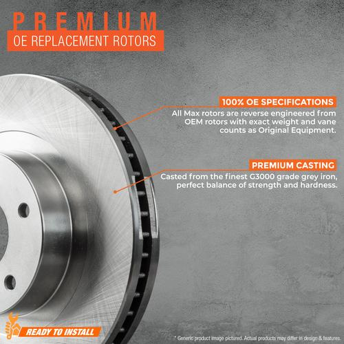 KM155843 OE Series Rotors + Ceramic Pads Fits: 2014 14 2015 15 Cadillac SRX Max Brakes Front /& Rear Supreme Brake Kit
