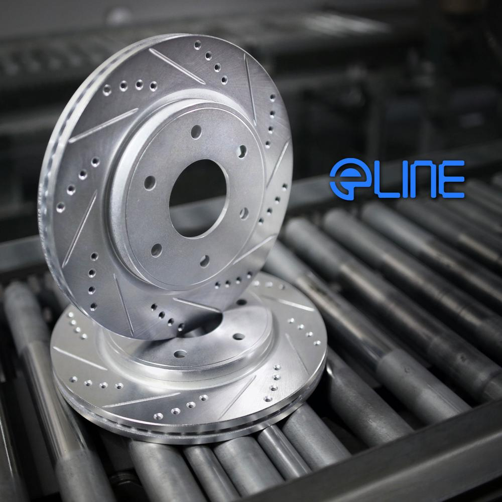 Front eLine Drilled Slotted Brake Rotors & Semi Met Brake Pads FEC.61040.03