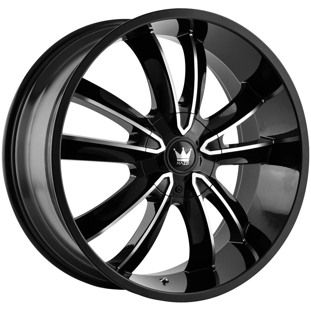 "4-Mazzi 366 Obsession 22x9.5 5x115/5x120 +18 Black/Machined Wheels Rims 22"" Inch"