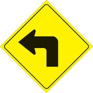 Voss 469 LT YR 12x12in. Reflective Trail Sign - Left Turn Arrow (Yellow/Black)