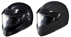 HJC Adult CL-MAX2SN Solid Snowmobile Modular Dual Lens Helmet Black M