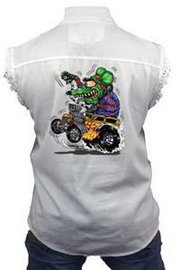 Men's Sleeveless Denim Shirt Crazy Hot Rod Rat Biker Vest: WHITE (Medium)