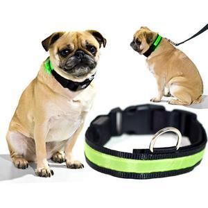 Biltek Green LED Light Dog Collar - Medium - Dog Pet Night Safety Fashionable Flashing Light Up Collar Nylon Large Adjustable