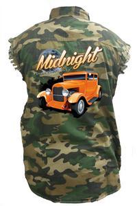 Men's Camo Sleeveless Denim Shirt Midnight Immortality Hot Rod Denim Vest: (6XL)