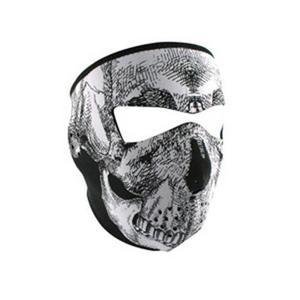 Zan Headgear Full Face Mask Black/White Skull (Black, OSFM)