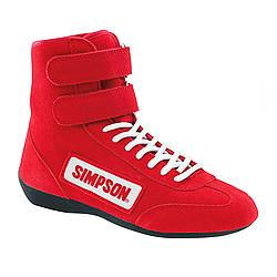 SIMPSON SAFETY Size 10-1/2 Red High-Top Driving Shoes P/N 28105RD