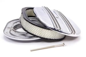 RACING POWER CO 12 in Oval Polished Aluminum Finned Oval Air Cleaner P/N R6320