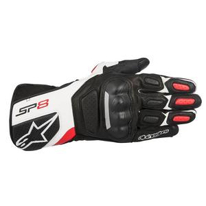 Alpinestars SP-8 V2 Leather Gloves Black/White/Red (Black, Medium)