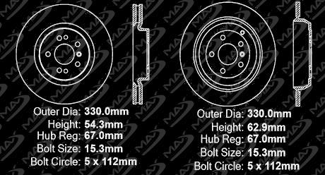 Max Brakes Front /& Rear Premium OE Rotors and Metallic Pads Brake Kit TA039943-5