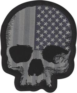 Lethal Threat MN32070 Gray USA Skull Mini Embroidered Patch