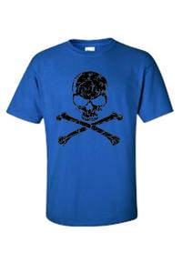 Men's/Unisex Biker Black Skull Head with Cross Bones  ROYAL Short Sleeve T-shirt (4XL)