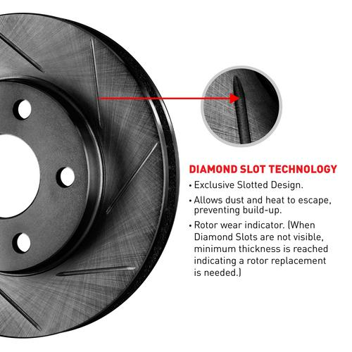 For Mitsubishi Eclipse, Galant Front Black Slotted Brake Rotors+Semi-Met Pads