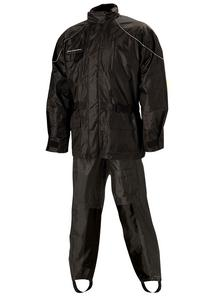 Nelson-Rigg AS-3000 Aston 2-Piece Rain Suit Black/Black (Black, Large)