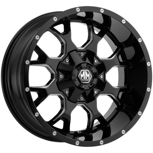"4-Mayhem 8015 Warrior 22x12 8x6.5""/8x170 -44mm Black/Milled Wheels Rims 22"" Inch"