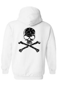 Men's/Unisex Zip-Up Hoodie Biker Black Skull and Cross Bones WHITE (Small)