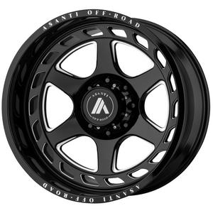 "5-Asanti Off Road AB816 Anvil 22x12 5x5"" -44mm Black/Milled Wheels Rims 22"" Inch"