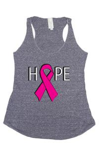 Women's HOPE Breast Cancer Awareness Tri Blend Tank: DENIM (MED)