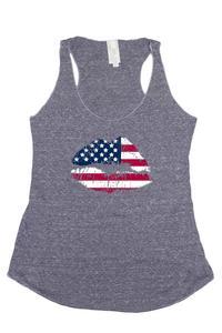 Women's Tri-Blend Tank Top USA Flag Kiss: DENIM (Small)