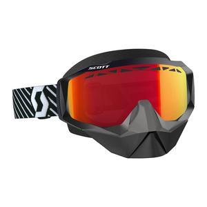 Scott USA Hustle Snowcross Goggles Black/White / Amp Red Chrome Lens (Black, OSFM)