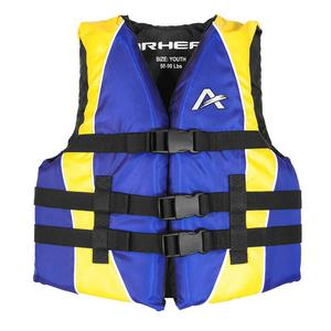 Airhead Close Sided Youth Life Jacket Blue/Yellow (Blue, 50-90 Lbs.)