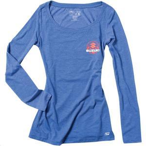 Factory Effex Suzuki Sun Womens Long Sleeve Shirt Royal Blue (Blue, Small)