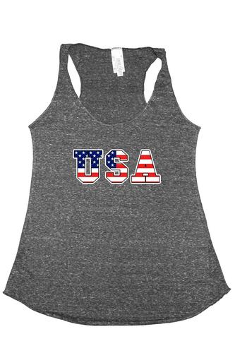 Women's Tri-Blend Tank Top USA FLAG: DENIM (Small)