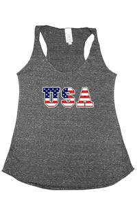 Women's Tri-Blend Tank Top USA FLAG: DENIM (Medium)