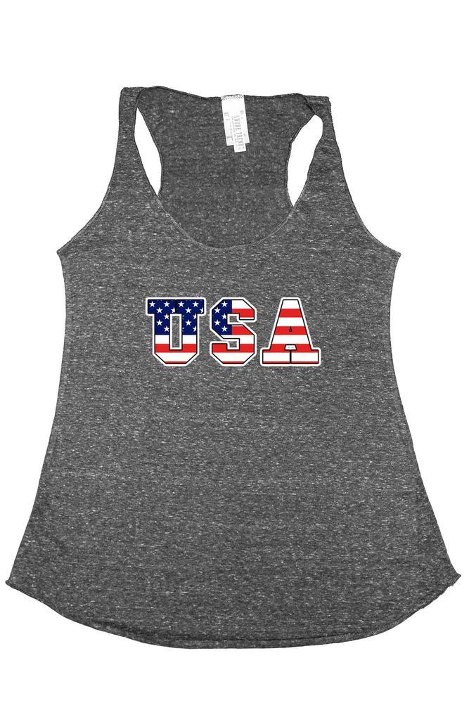 Women's Tri-Blend Tank Top USA FLAG: DENIM (Small)