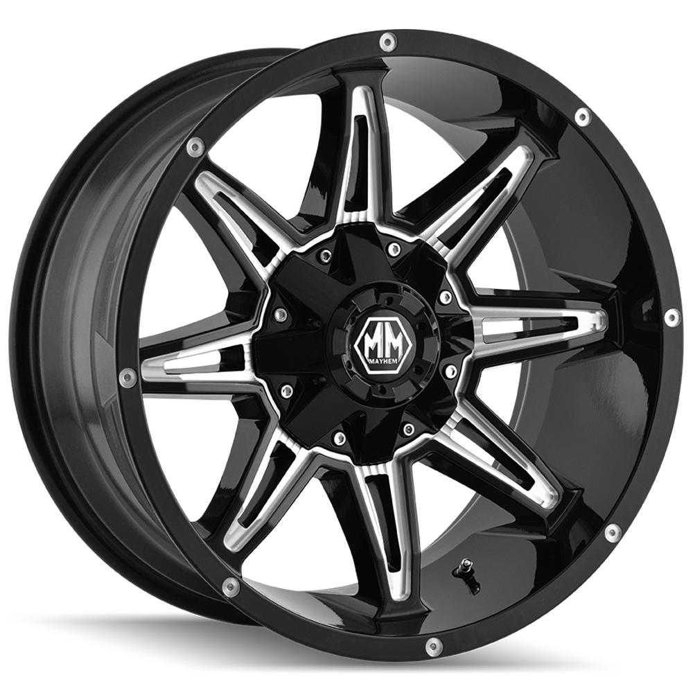 "4-Mayhem 8090 Rampage 20x10 6x135/6x5.5"" -25mm Black/Milled Wheels Rims 20"" Inch"