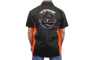 "Biker Mechanic Work Shirt ""Let It Ride Aces"" BLACK/ORANGE (5X)"