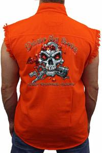 Men's Sleeveless Denim Shirt Dump My Ride Used Chopper Parts: ORANGE (4XL)
