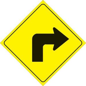 Voss 469 RT YR 12x12in. Reflective Trail Sign - Right Turn Arrow (Yellow/Black)