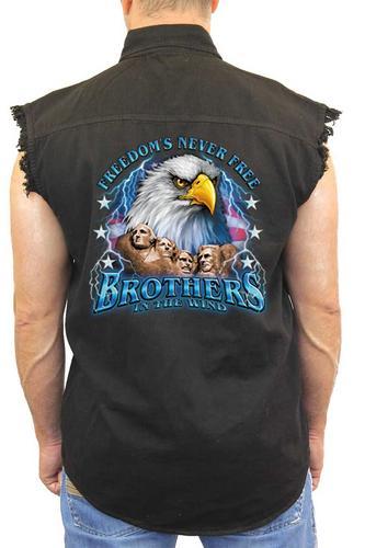 """Sleeveless Denim Shirt """"Freedom's Never Free"""" (Medium)"""