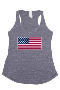 Women's Tri-Blend Tank Top Flat USA Flag : DENIM (Large)