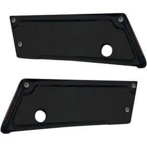 Alloy Art BLLR-2 Lighted Saddlebag Latch Covers - Black Anodized with Smoke Lens/Red LEDs