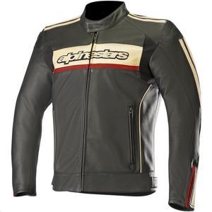 Alpinestars Dyno V2 Leather Jacket Black/Stone/Red (Black, 50)