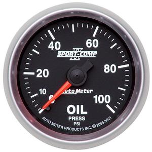 "AutoMeter 3621 Sport-Comp II Mechanical Oil Pressure Gauge 2 1/16"" 0-100 psi"