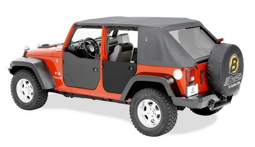 Bestop Lower Fabric Half-doors; Rear - Jeep 2007-2018 Wrangler JK Unlimited