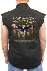 Men's Sleeveless Denim Shirt USA Flag American Pride: BLACK (Medium)