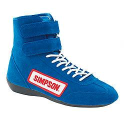 SIMPSON SAFETY Size 9-1/2 Blue High-Top Driving Shoes P/N 28950BL