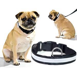 Biltek White LED Light Dog Collar - Large - Dog Pet Night Safety Fashionable Flashing Light Up Collar Nylon Large Adjustable