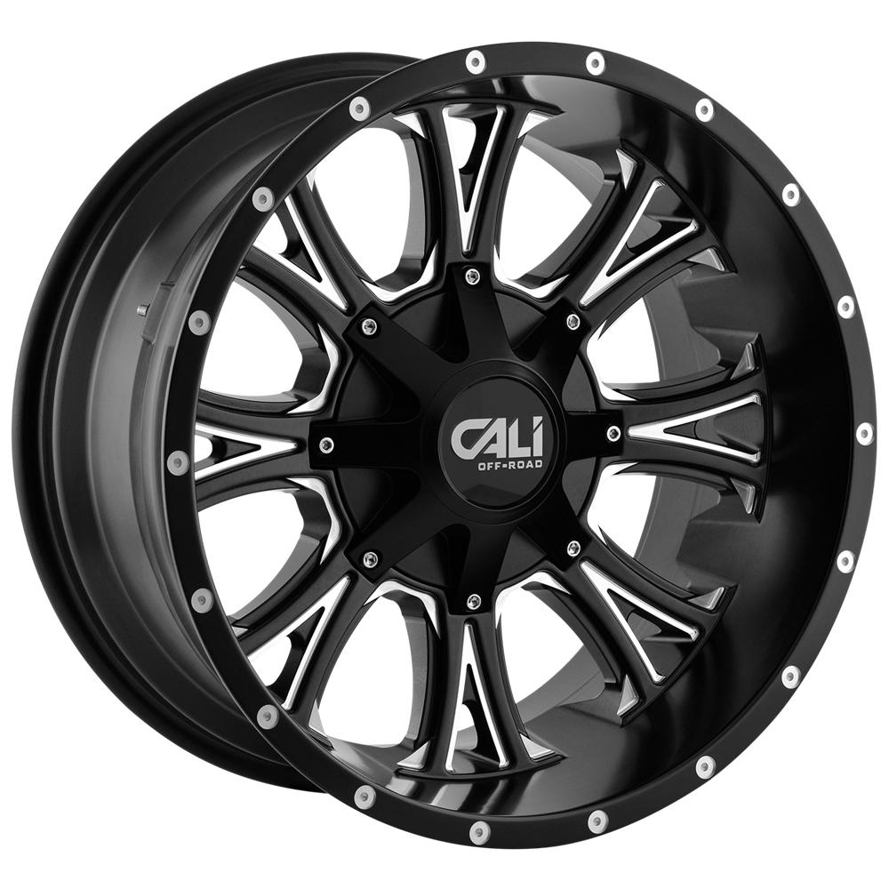 "4-Cali 9101 Americana 20x9 6x135/6x5.5"" +18mm Black/Milled Wheels Rims 20"" Inch"