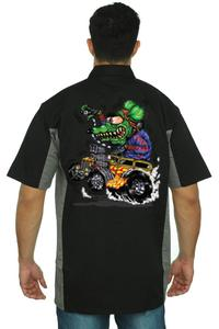 Men's Mechanic Work Shirt Crazy Hot Rod Rat: BLACK/GREY (Large)
