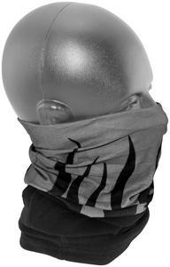 Zan Headgear Combo Motley Tube Gray with Black Flames (Gray, OSFM)