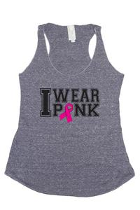 Women's I Wear Pink Breast Cancer Awareness Tri Blend Tank: DENIM (SMALL)