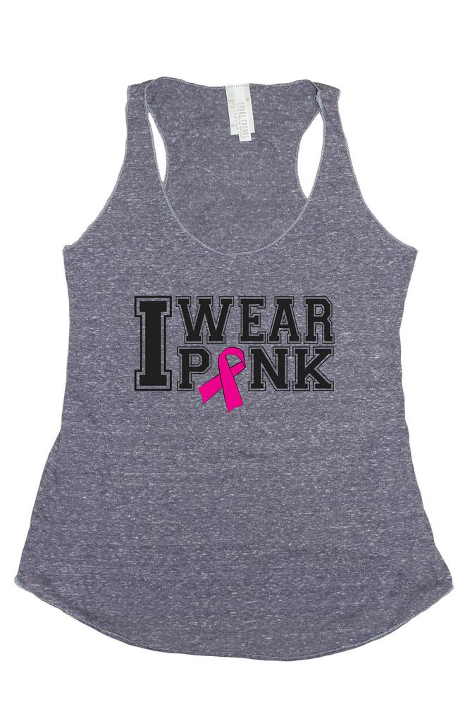 Women's I Wear Pink Breast Cancer Awareness Tri Blend Tank: DENIM (LARGE)