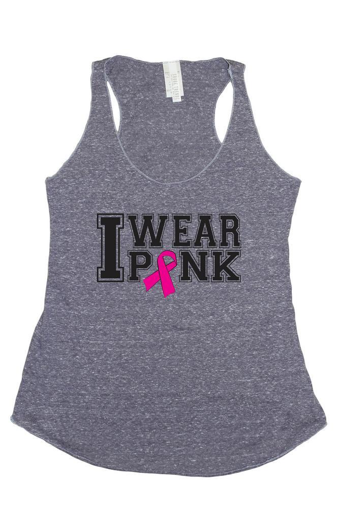 Women's I Wear Pink Breast Cancer Awareness Tri Blend Tank: DENIM (MED)