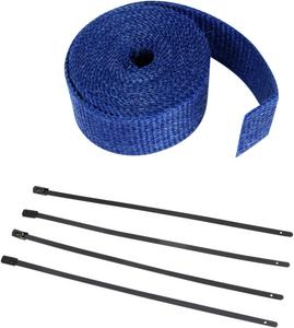 "Cycle Performance 2"" x 25' Blue Exhaust Pipe Wrap w/ Black Tie Wraps CPP/9066B"
