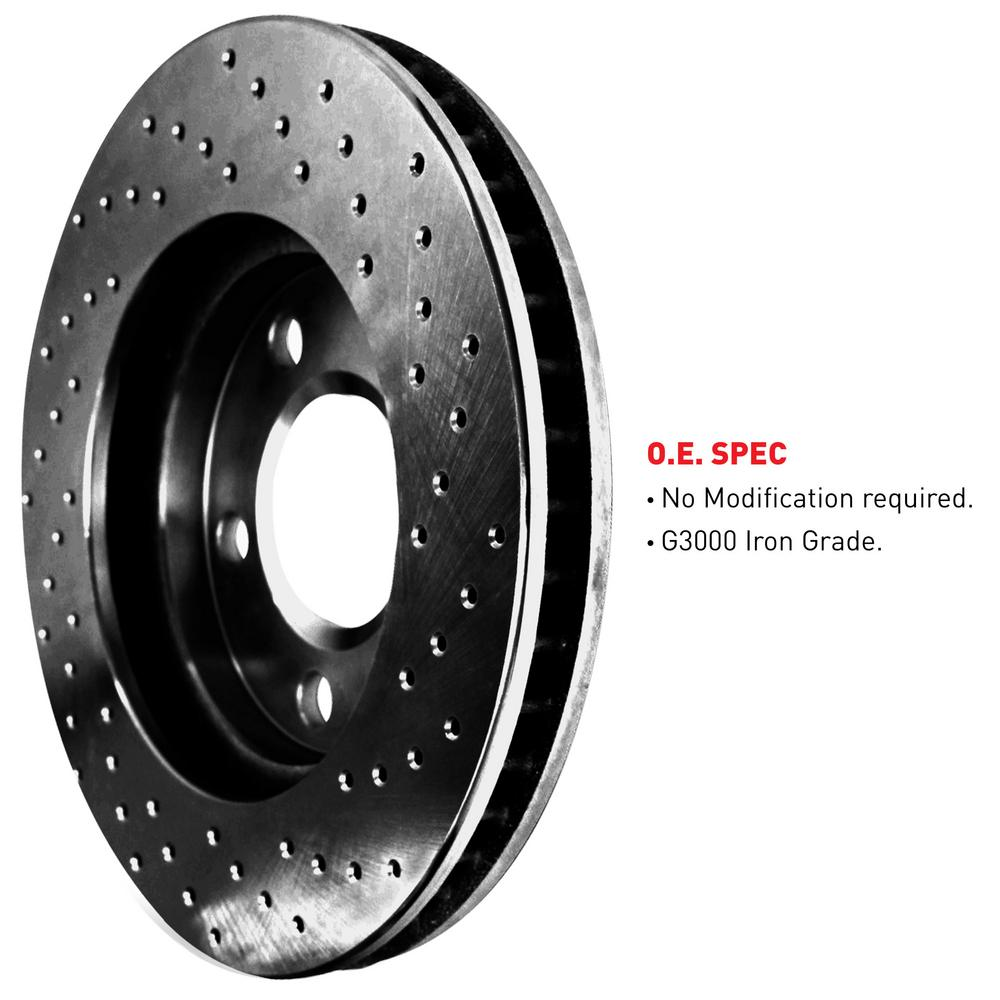 For 2011 Mini Cooper Rear eLine Black Drilled Brake Rotors + Semi-Met Brake Pads